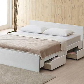 아이잠 솔리드 코디 200 유니크 서랍형 침대세트 퀸, 화이트, 프레임 + 단면매트리스 + 서랍통